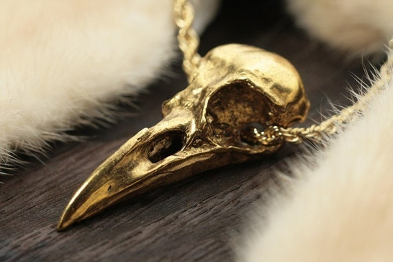 "Replacemment chain Gold-Plated Crow Skull Necklace  life sized (24"" retro rope chain) Made in NYC"
