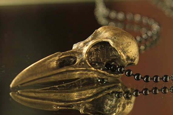 "Bronze-Plated Crow Skull Necklace (24"" shiny-black chain) Made in NYC"