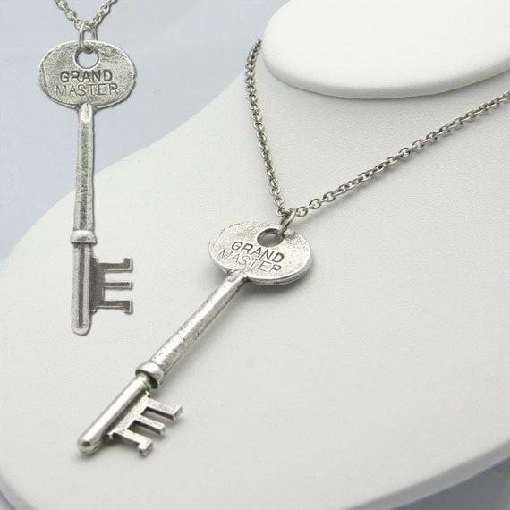 "Grand Master Skeleton Key in Antique Silver on a 24"" Chain (Made in NYC)"