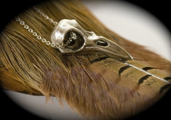 """Small Raven Skull Necklace, Solid Sterling Silver, 18"""" Sterling Chain"""