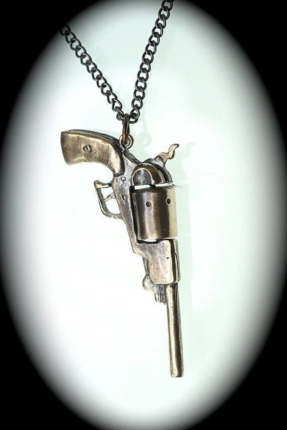 """Gun necklace 1847 Walker 44 revolver w/ spinning cylinder (solid bronze, antique finish) 18""""/36"""" black gunmetal chain"""