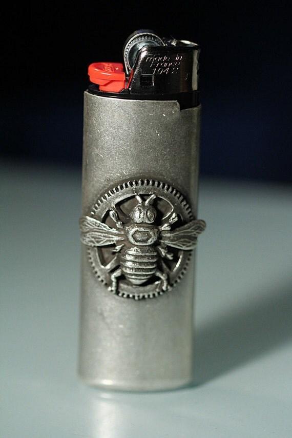 Silver honey bee clock gear Lighter Cover