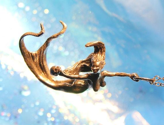 Mermaid Pendant original carving cast in reclaimed bronze