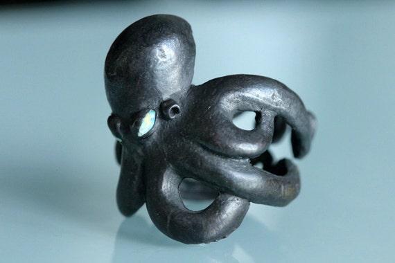 Octopus ring Sterling black silver opal eyes
