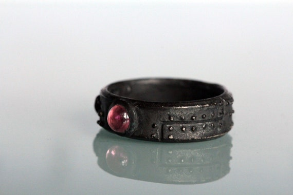 Diamond steampunk industrial ring  black Sterling silver pink tourmaline set