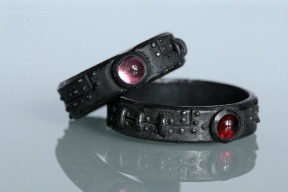 Steampunk wedding set Black Stering Silver diamond red garnet pink tourmaline settings  FB