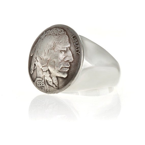 Coin Ring In Sterling Silver Buffalo Indian Head Nickel  Blue Bayer Design NYC
