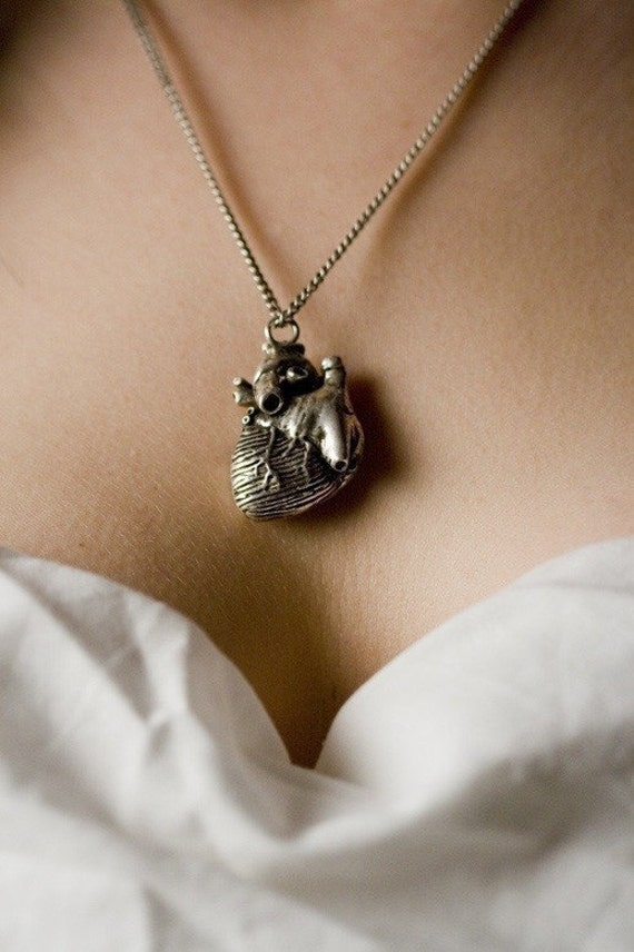 anatomical heart necklace in antique silver your choice of