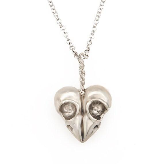 Heart of skulls bird skull jewelry skull heart in silver white bronze Blue Bayer Design NYC