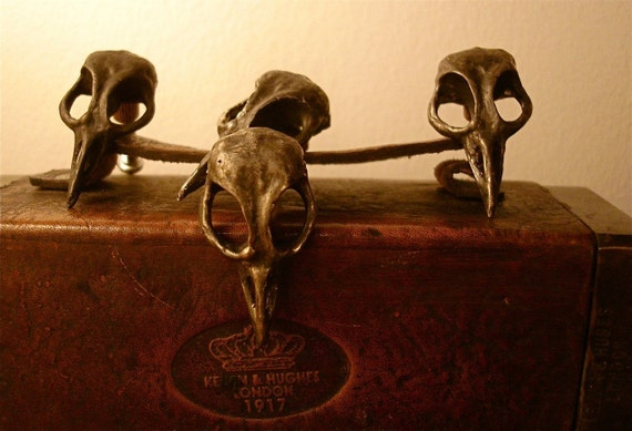 Bird Skull Drawer Pull Cabinet Knob cast metal. Made in NYC Billyblue22