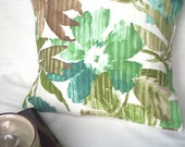 Pillow Cover in Floral and Leaf Print by Croscill Home Fabrics, Colors of Turquoise, Green, Olive and Ivory