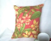 Throw Pillow Cover in Floral Print of Orange, Green, Yellow and Gold In Sirragio Pattern Fabric by Croscill Home