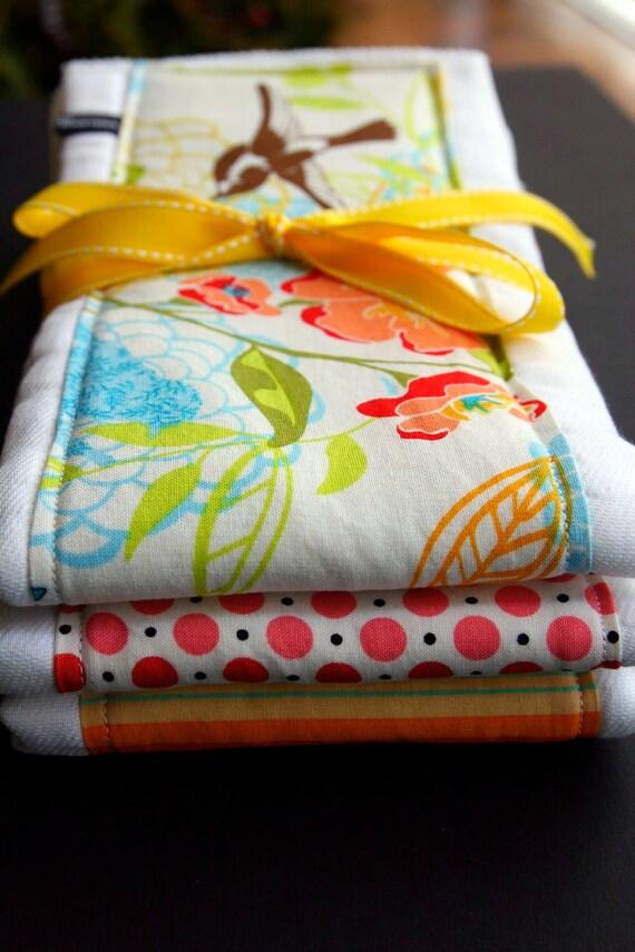 Burp Cloth Set, Birds, Flowers, Polka dots and Stripes