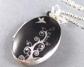 Phoebe, Silver Locket,Bird,Flower,Twigg,Black,Swarovski Crystal,Silver Chain.  Handmade Jewelry by valleygirldesigns on Etsy.