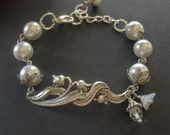 Lily,Silver Bracelet,White Swarovski Pearls. Handmade Jewelry by valleygirldesigns on Etsy.