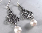 Isabelle,Silver Earrings,Pearl,Pink,Antique,Vintage Style,Wedding,Bride,Blush. Handmade jewelery by valleygirldesign on Etsy.