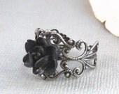 Antique Black Ring,Black Flower,Black Rose,Ring,Rose Ring,Antique Ring,Silver Ring,Resin Rose,Handmade jewelery by valleygirldesigns.