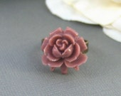 Mauve Rose Ring,Pink Flower,Pink Rose,Ring,Rose Ring,Antique Ring,Brass Ring,Resin Rose,Flower. Handmade jewelery by valleygirldesigns.