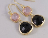 Pink Cosmo,Earrings,Gold Earrings,Pink,Diamond Earrings,Gold,Black,Wedding,Black,Diamond. Handmade jewelery by valleygirldesigns on Etsy.