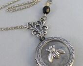 Bee Charmer,Silver Locket,Locket, Antique Locket,Bee,Yellow,Black,Citrine,Onyx. Handmade jewelry by valleygirldesigns.