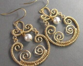 Marrakesh, Gold Earrings,Pearl Earrings,Bohemian, Gypsy,Freshwater Pearl. Handmade jewelery by Valleygirldesigns.