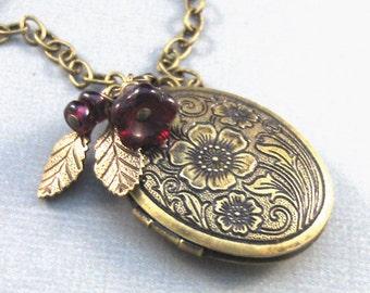 Cinnabar,garnet jewlery,garnet necklace,Brass Locket,Locket,Antique Locket,Filigree Locket,Brass Necklace,Garnet.valleygirldesigns.