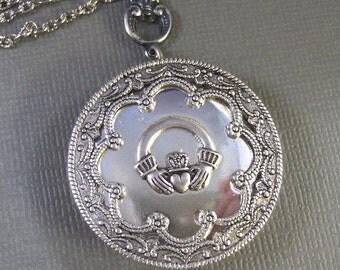 Lucky Girl,Claddagh,Claddagh Necklace,Claddagh Locket,Claddagh Jewelry,Irish Necklace,Irish Jewelry,Antique Locket,Silver valleygirldesigns
