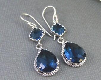 Something Blue,Earrings,Sapphire Earrings,Silver Earrings,Sterling Silver,Bride,Blue,Navy,Wedding,Handmade jewelery by Valleygirldesigns