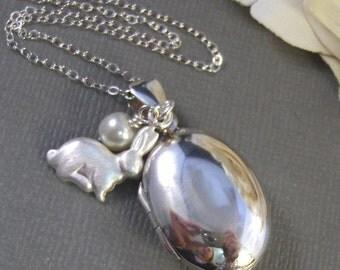 Bunny,Rabbit Necklace,Bunny Necklace,Rabbit Locket,Bunny Locket,Easter,Cottontial,Sterling silver locket,Sterling silver,valleygirldesigns.