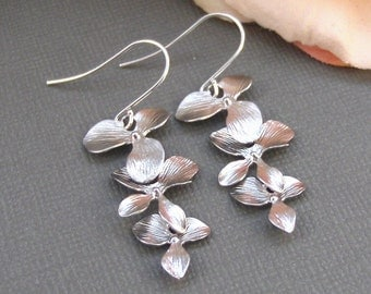 Silver Cascade,Flower Earring,Sterling Silver Earring,Silver Earrings,Wedding Jewelry,Sterling Silver,Cherry Blossom Earring valleygirldesig