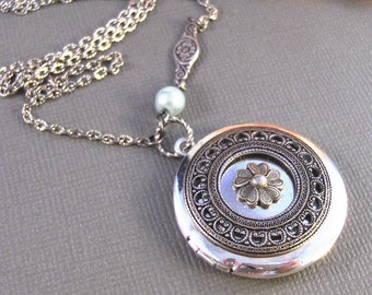 Sea Blossom,Locket,Antique Locket,Silver Locket,Posey,Poppy, Locket,Blossom. Handmade jewelry by Valleygirldesigns.