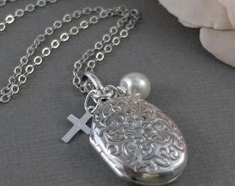 Trinity,Locket,Silver Locket,Sterling Silver Locket,Sterling Silver,Cross,Wedding Jewelry. Handmade jewelry by valleygirldesigns.