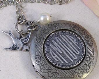Silver Amour,Locket,Antique Locket,Silver Locket,Bird,Pearl,Woodland,Love,Amour,Flower . Handmade jewelry by valleygirldesigns