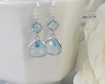 Clearwater,Aquamarine, Earring,Silver EarringsTeal,Aqua,March Birthstone,Wedding,Bride,Crystal. Handmade jewelery by valleygirldesigns.