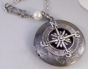 Silver Compass,Silver Locket,Locket, Antique Locket,Compass,,Victorian Locket,Pearl. Handmade jewelry by valleygirldesigns.