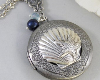 Oceans Pearl,Silver Locket,Locket, Antique Locket,Shell,Necklace,Victorian Locket,Pearl. Handmade jewelry by valleygirldesigns.