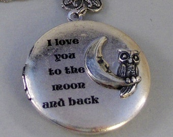 Owl In The Moon,Locket,Silver Locket,Rabbit,Bunny,Owl,Moon,Antique Locket,Antique,Woodland,Love You. Handmade jewelry by valleygirldesigns.