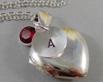 Darling,Locket,Sterling Silver,Silver Locket,Heart Locket,Birthstone,Handstamped,Personalize. Handmade Jewelry by valleygirldesigns.