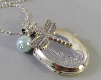 Sterling Dragonfly,Locket,Silver Locket,Sterling,Locket,Dragonfly,Pearl,Wedding Jewelry. Handmade jewelry by valleygirldesigns.