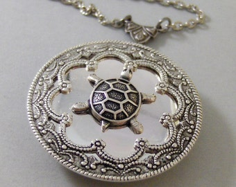 Garrett's Turtle ,Locket,Silver, Turtle ,Antiqued,Charm,Silver Locket,Woodland,Pond.Jewelery by Valleygirldesigns.