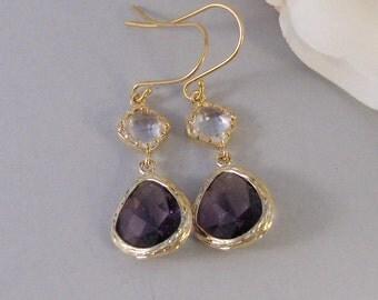 Freesia,Earring,Gold Earrings,Amethyst,Purple, Birthstone,Diamond,Wedding,Bride,February. Handmade jewelery by valleygirldesigns.