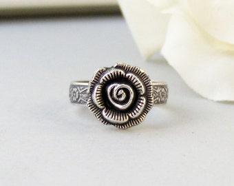 Heirloom Rose,Ring,Silver Ring,Silver Rose,Ring,Rose Ring,Antique Ring,Antique Silver,Victorian,Handmade jewelery by valleygirldesigns.