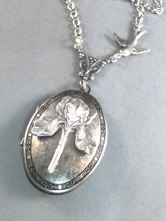 Iris, Silver Locket, Antique Locket,Locket,Flower,Bird,Purple,Spring,Bride,Bridesmaid.  Handmade jewelery by valleygirldesigns on Etsy.
