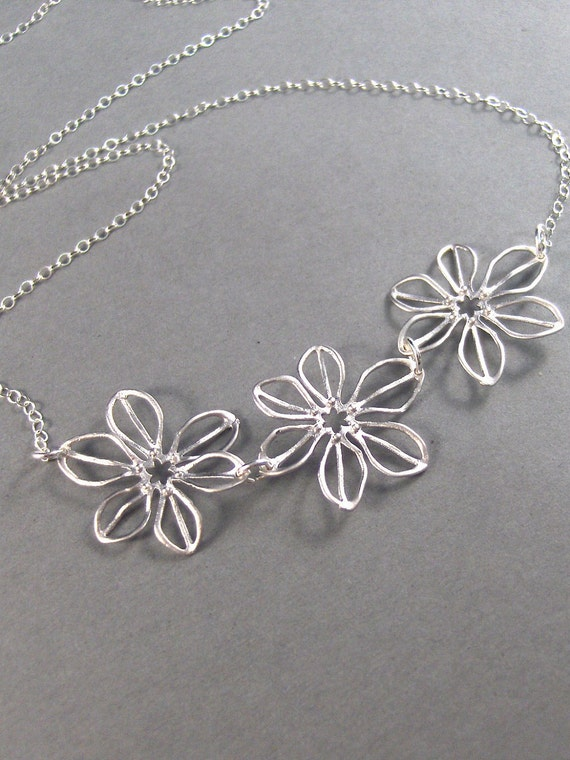 Jennifer,Sterling Silver,Silver Necklace,Flower,Sterling Necklace,Cherry Blossom,Wedding. Handmade jewelery by valley girl designs on Etsy.