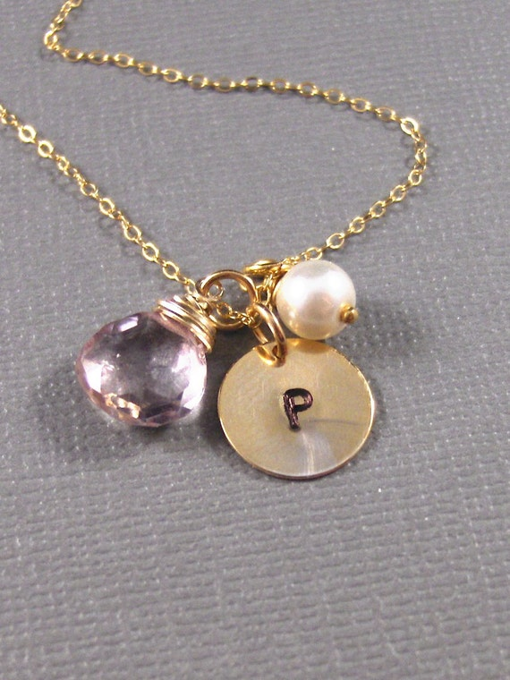 Andromeda,Gold Necklace,Freshwater Pearl,Initial,Pink,Mystic Quartz.Stamped. Handmade Jewelery by ValleyGirlDesigns.