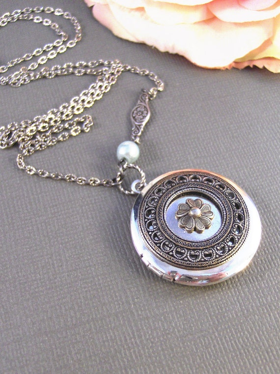 Sea Blossom,Locket,Antique Locket,Silver Locket,Posey,Poppy, Locket,Blossom. Handmade jewelry by Valleygirldesigns.