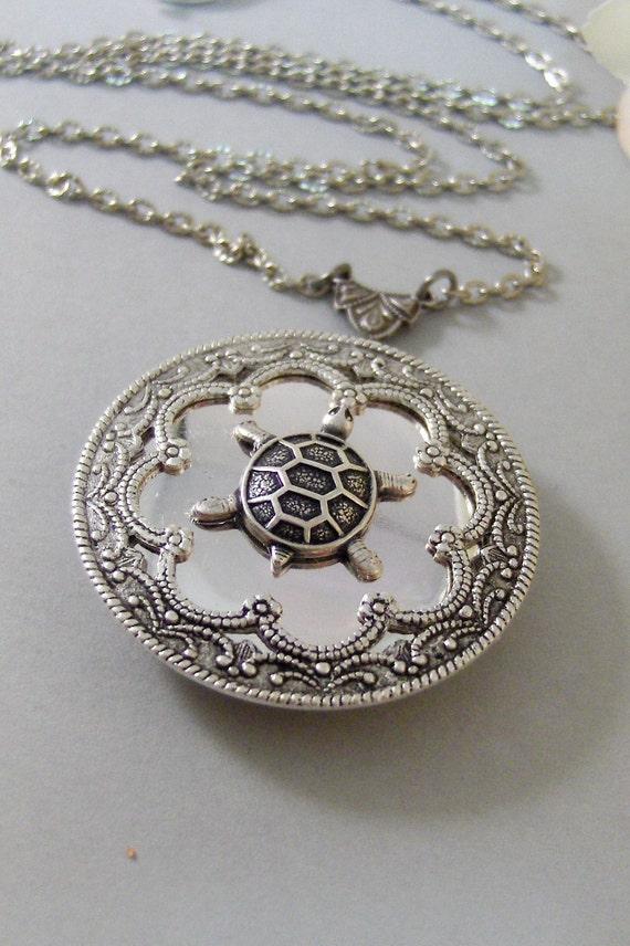 Garrett's Turtle ,Locket,Silver, Turtle ,Antiqued,Charm,Silver Locket,Woodland,Pond.Jewelery by Valleygirldesigns.