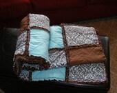 Custom for PoppyZ - Chabby chic warm and cozy spa blue and chocolate brown with minky throw