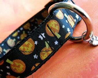 SMALL Pumpkins Halloween dog collar