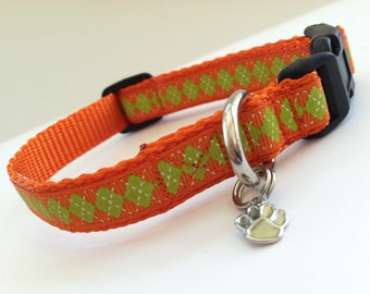 Extra Small Orange and Green Argyle Dog Collar